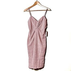ASTR | Pink and White Check Print Button Up Dress